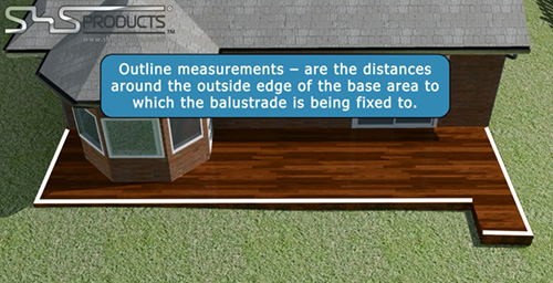 SHS Products - How to Measure a balustrade - outside line - overall