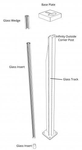 SHS Products - Infinity Post Diagram - Aluminium Glass Balustrade