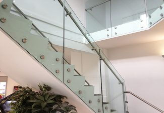 SHS Products Glass Button Balustrade Commercial Building