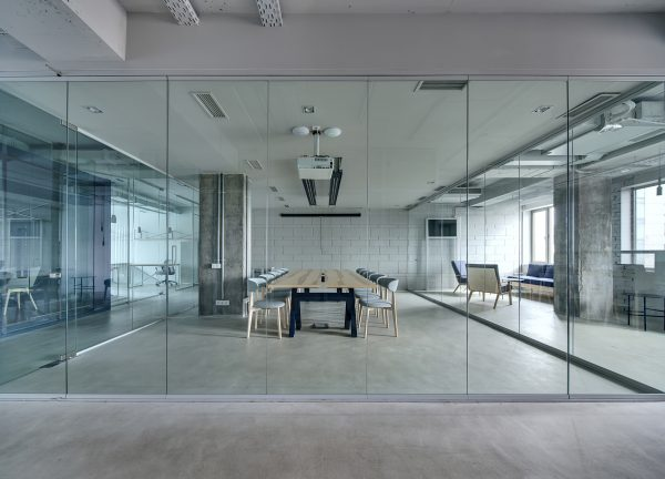 SHS Products Clear Glass Wall Partitions in Office Space