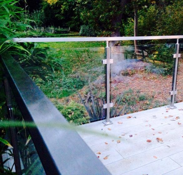SHS Products - Stainless Handrail Systems - Square Tube Glass Balustrade on Decking