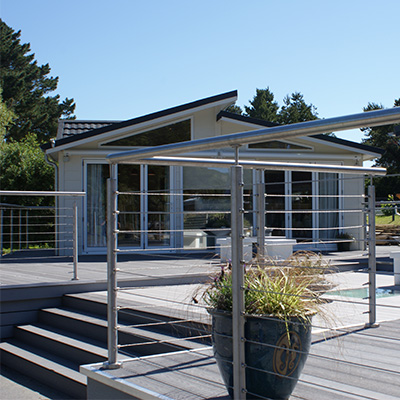 Wire Rope Stainless Steel Balustrade - Intermediate / Mid Post